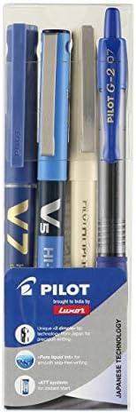 Pilot Super Combo - Pack Of 4 Pens (pilot V7 Cartridge Blue + Pilot Hitech Point O5 Green + Pilot Hitech Point
