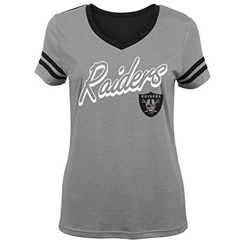 NFL by Outerstuff NFL Oakland Raiders Youth Mädchen Sound Wave kurzärmliges T-Shirt Heather Grey, Gr. XL (16)
