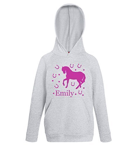 41vJbvyA83L UK BEST BUY #1Personalised Horse Grey Hoody Jumper Horsey Hoodie Free 1st Class Delivery From Age 1/2 to 12/13 Years price Reviews uk