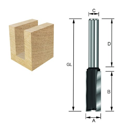 Preisvergleich Produktbild ENT Nutfräser HW (HM), Schaft (C) 8 mm, Durchmesser (A) 2 mm, B 6 mm, Z1, D 32 mm, GL 43 mm