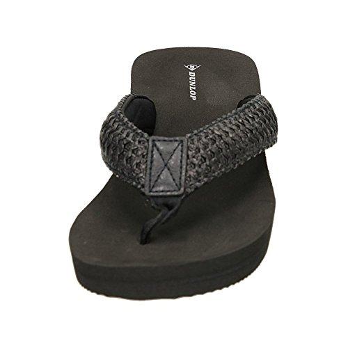 Dunlop Damen Kleiner Keilabsatz Ohne Bügel Zehenstegsandalen Schwarz