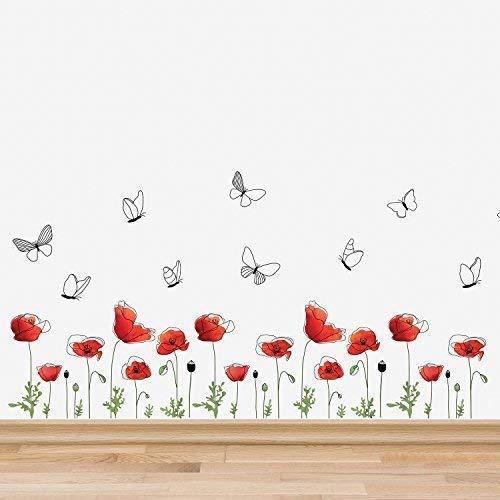 Wallflexi adesivi da parete fiori di papavero battiscopa murales rimovibile autoadesivo decalcomanie art nursery kindergarden school kids room ristorante bar cafe hotel casa ufficio decorazione