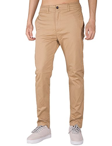 THE AWOKEN Herren Chino Business Hosen Casual Hose Slim Fit Stoffhose Freizeithose Khaki