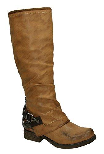 Klassische Kniehohe Damen Biker Stiefel Leder Optik Boots Nieten Langschaft 536 (36, Camel) (Stiefel Camel Flache Damen)
