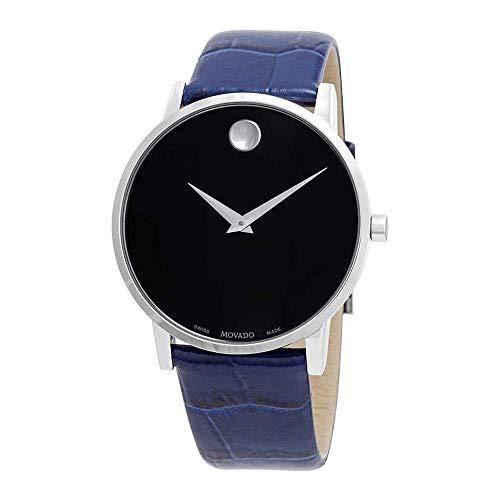 Movado Museum Homme 40mm Bracelet Cuir Bleu Quartz Cadran Noir Montre 607221