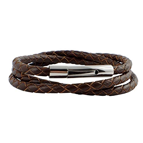 König Design Lederkette Lederband 6 mm Herren Halskette ohne Anhänger Braun 40 cm lang mit Hebeldruck Verschluss Silber geflochten