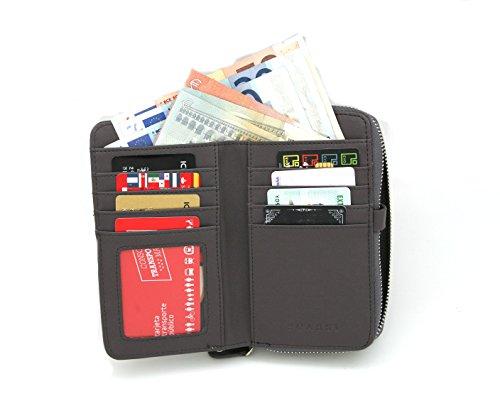 Borsa del portafoglio RFID MENKAI disegno volpe 666-F2 nero Grey