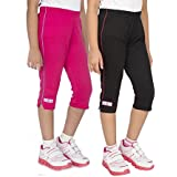 OCEAN RACE Girls attarctive Colors Cotton Capris(3/4 Th Pant)-Pack of 2