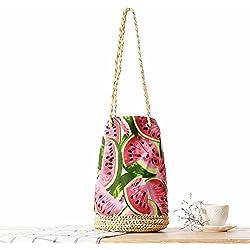 GAOQQ Häkeln Sie Eimer Quaste Stroh Tasche Tuch Wassermelone Beach Bag Schultertasche
