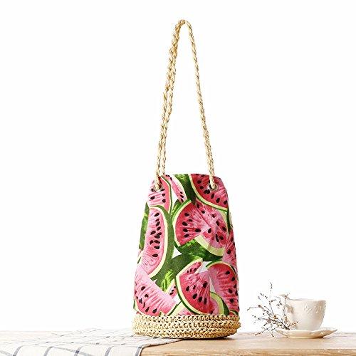GAOQQ Häkeln Sie Eimer Quaste Stroh Tasche Tuch Wassermelone Beach Bag Schultertasche -