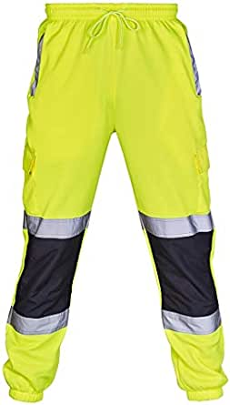 Hi Vis Joggers 2 Tone High Visibility Safety Trousers Slim Fit Workwear Two Tone Jogging Bottoms