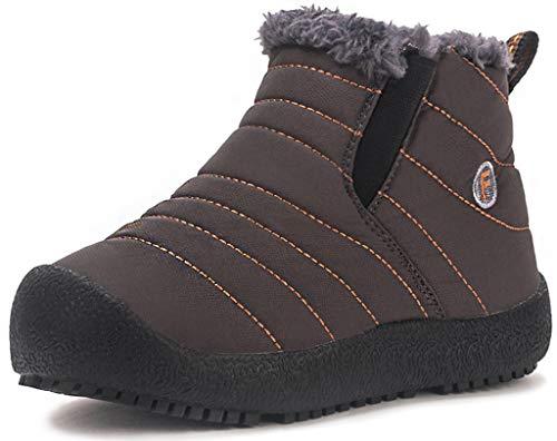 Kinder Winterschuhe Jungen Mädchen Schneestiefel Wasserdicht Warm gefütterte Schlupfstiefel Winter Stiefel Sneaker Schuhe Braun 34 EU = 35 CN