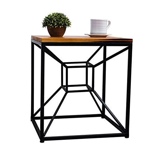 Klapptisch YANFEI, Vintage Massivholz Couchtisch Industrieller Stil Institutioneller Rahmen Kleiner Quadratischer Tisch, 45 * 45 * 50cm