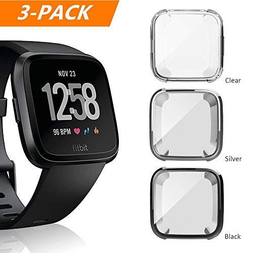 Cerike Fitbit Versa Schutzhülle aus weichem TPU, schlanke Passform, Protective hülle vollständiges Cover für Fitbit Versa Smart Watch (klar+schwarz+Silber-)