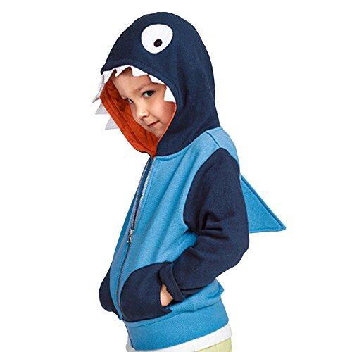Kleider Kinderbekleidung Honestyi Baby Kind scherzt Jungen Mädchen Karikatur Tier mit Kapuze Mantel Mantel Oberseiten warme Kleidung (Blau,110)