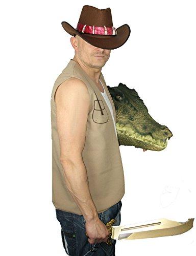 Dundee Kostüm Crocodile - Crocodile Mick Dundee Australian Fancy Dress Costume Hat & Waistcoat [Adults L/XL]