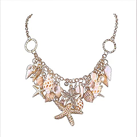 Bababy Womens Seashell Pearl Starfish Pendant Necklace Ocean Beach Jewelry Long Chain Chain:44CM, extended chain: 6CM/ pendant 17CM