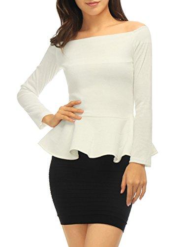 sourcingmap® Allegra K Lady Schulterfrei Versteckt Reißverschluss Seite Design Freizeit Schößchen Top (Bluse Vor Versteckt)