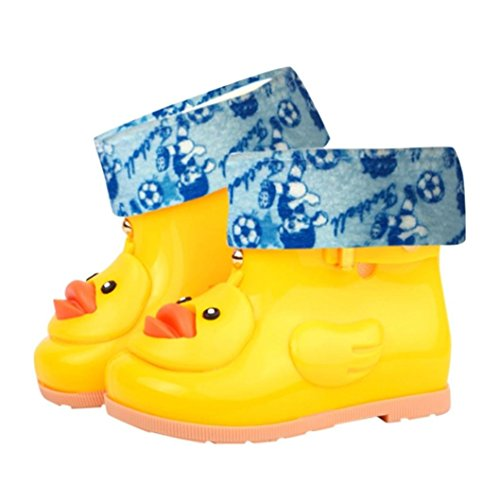 Sixcup  Rain Boot, Unisex Kids Infant Baby Children Cartoon Duck Warm Boots Rubber Shoes Waterproof Child Solid Galoshes