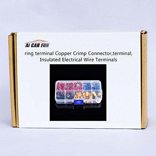 Kabelschuhe Ring Set, 102 pcs Aderendhülsen Sortiment 0.5mm-6mm AWG 22-10 für Isolierte Uisolierte