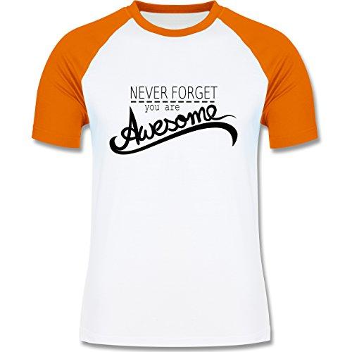 Statement Shirts - Never forget you are awesome - zweifarbiges Baseballshirt für Männer Weiß/Orange