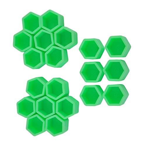Funnyrunstore Vert 20 Pcs 17/19 / 21mm Silicone Creux Hexagonal Moyeu De Roue Cache-Vis Car Styling Décoration Protéger (21#)