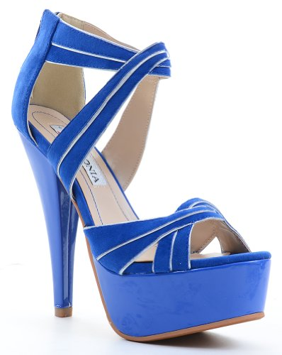 Fourever da donna in materiale sintetico, motivo: Criss Cross da donna, con brillantini Blu