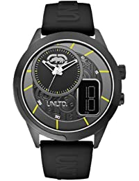 Marc Ecko Unisex Quartz Watch with Black Dial Analogue Display and Black Resin Strap E14545G2