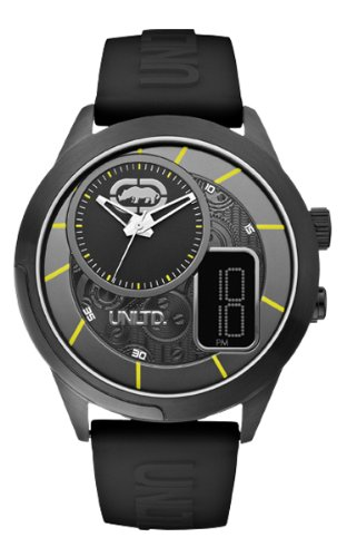 Marc Ecko E14545G2 - Reloj analógico y digital de cuarzo para hombre con correa de silicona, color negro