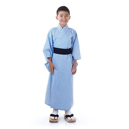 Japaner Jungen Yukata Kimono Obi Samurai Kinder Fasching Karneval Kostüm Blau (Kimono Kostüm Für Jungen)