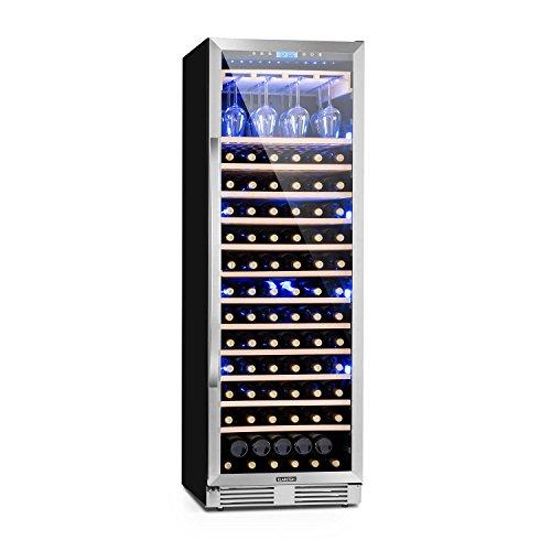 Klarstein Vinovilla Grande - Weinkühlschrank, Getränkekühlschrank, 425 Liter, 13 Holzeinschübe, Touch-Bediensektion, LED-Innenbeleuchtung, Weinglashalterung, Anti-Vibrationssystem, schwarz