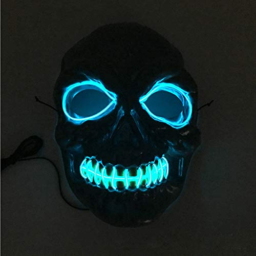 QHJ Halloween Kostüm Party Maske Halloween Skelett Maske LED Masken Glow Scary Maske Leuchten Cosplay Maske Helloween Kostüm Party - Glow Skelett Kostüm