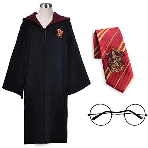 Faschingskostüme Kostüm Set Robe Krawatte Brille für Damen Herren Kinder Jugend Mädchen Gr.36-53 (155, Gryffindor)