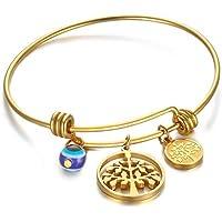 OMZBM Initial Erweiterbar Draht Armreif Fashion Edelstahl Baum Des Lebens Hang Tag Einstellbare Armband Schmuck Gold Für Frauen