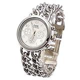 Hermosa Pulsera Watches Reloj de Mujer de Cuarzo Reloj de Doble Cadena en Plata
