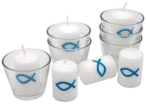 ZauberDeko 6X Kerze Votivkerze Fisch Türkis Petrol Blau 6X Votivglas Kommunion Konfirmation Tischdeko Kerzenglas