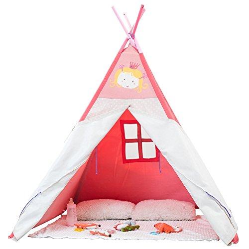 Labebe Kids Tepee / Spielhaus / Spielzelt für Baby Mädchen & Jungen Kleinkind, extra groß 4 'mit Massivholz und Leinwand Material, perfekt für Innen & Draußen Aktivitätsgruppe spielen, einfach zu reinigen - Prinzessin Rosa (Prinzessin Kleinkind-zelt)