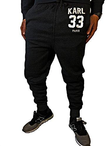 Slim Jogging Hose Sweatpants Deep Crotch (KARL L, Schwarz)