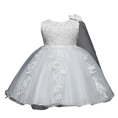 GladiolusA Baby Blumenmädchen Festzug Prom Prinzessin Hochzeit Brautjungfer Party Kleider Ballkleid Abendkleid Weiß 90CM 12-24 Monat Brautjungfer Prom Kleid