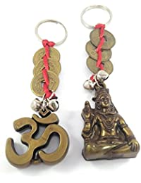 Key Era Combo Of 2 Lord Shiv & OM With Three Chiense Coin Bronze Colour Keychain & Keyring For Bikes, Cars, Bags...