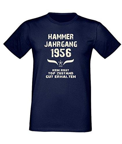 Sprüche Fun T-Shirt Jubiläums-Geschenk zum 61. Geburtstag Hammer Jahrgang 1956 Farbe: schwarz blau rot grün braun auch in Übergrößen 3XL, 4XL, 5XL blau-01