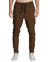 ITALY MORN Harem Pantalones De Cargo Hombre Deporte Chinos Pantalon Skinny Joggers Casual Algodon Negro