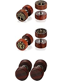 Men's Women's 3Pair Stud Earring Set Oidea Wood Brown Gothic Tree of Life Stainless Steel Lion Head Earrings Ear Piercing Huggie Stud