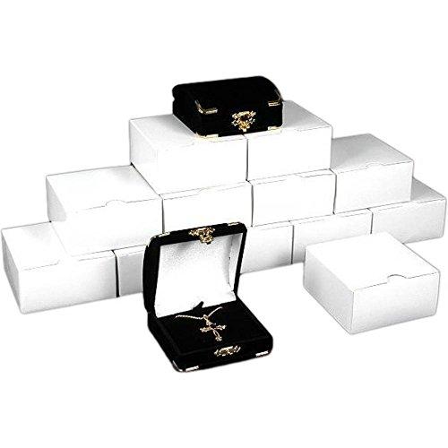 Findingking 12scatole regalo Ciondolo nero floccato Jewelry display box - Floccato Collana