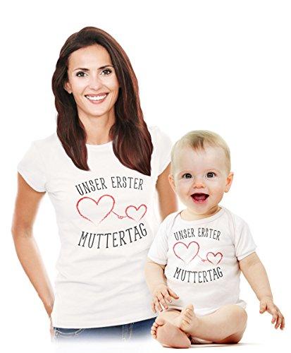 ag - Süßes Geschenk Partner Outfit für Mama und Baby body Weiß 40/56 (0-3M) / shirt Weiß X-Large (Einzigartige Outfit-ideen)