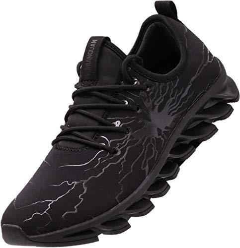 BRONAX Zapatillas Hombres Deporte Running Zapatos para Correr Gimnasio Low Top Sneakers Deportivas Transpirables Casual Todo Negro 39EU