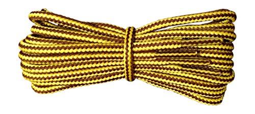 Fabmania Cordones para botas - redondos 4 mm -amarillo y marrón - Cordones resistentes para el trabajo y el ocio - Longitude 140 cm - Hecho en Inglaterra