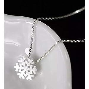 925 Sterling Silber Hals-kette mit Anhänger Schneeflocke kurz 40cm Eiskristall Winter Eiskönigin Weihnachten
