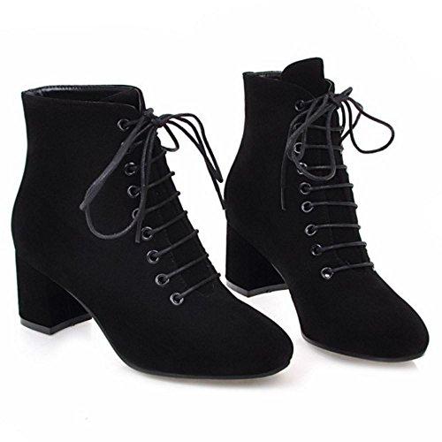 Black Lacets TAOFFEN Femmes Mode Bottes SU wBw7pqH