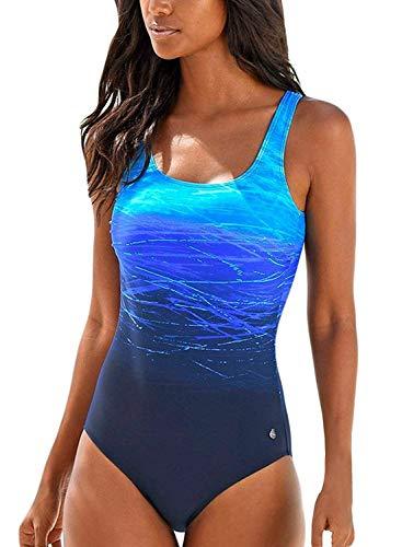 Leslady Badeanzug Damen Bauchweg Figurformend Push up Große Größen Sportlich Beachwear Bademode Strandmode, Blau, Small(EU 34-36)